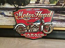 CUSTOM BIKES PARTS & SERVICE MOTORCYCLE EMBOSSED METAL SIGN BIKE SHOP DISPLAY