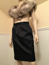 VTG GIVENCHY Nouvelle Boutique Lined BLACK SATIN Pencil SKIRT Size 6/Small Silk