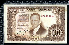 Espagne / Spain / España  : 100 Pesetas 1953 (France : franco de port)