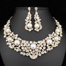 Wonderful Pearl Clear Austrian Rhinestone bib Necklace Earring Set Bridal N891g