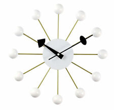 George Nelson BALL Clock Wall Clock Free US Ship OFFICIAL Wood Zinc NEW White