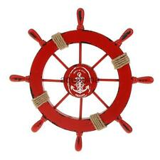 Nautical Marine Decor Wooden Pirate Ship Boat Helm Wheel Home Decoration Red