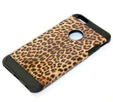 For iPhone 6+ / 6S+ Plus - HARD RUBBER HYBRID SKIN CASE BROWN LEOPARD CHEETAH