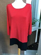 New Chico's Travelers Sultry Red Black Colorblock Asymmetrical Top 3 = 16/18 NWT