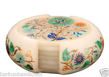 Marble Tea Coffee Coaster Set Real Inlay Stone Marquetry Art Decor Gifts H2183