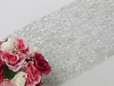"Silver TABLE RUNNER 14""x108"" SEQUINS on LACE Wedding Party Catering Event Linens"