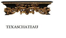 ORNATE BLACK & GOLD BED CROWN WALL CANOPY FRENCH REGENCY VINTAGE STYLE NEW