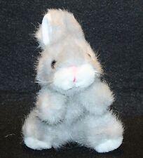 """Russ Berrie Gray White Bunny Rabbit Plush Stuffed Animal 6"""" Lovey Easter"""