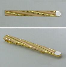 Krawatten-Halter (Nadel) mit  kupferfarbenen Streifen  in Gold  333/ooo
