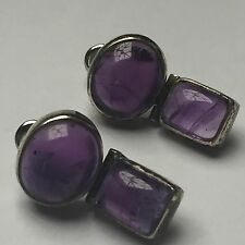 Vintage Natural Amethyst Cabouchon set 925 Solid Sterling Silver Earrings 6.88gm