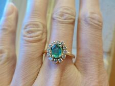 Vintage 14k yellow gold natural oval faceted green emerald diamond halo ring 7.5