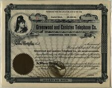Greenwood & Canisteo Telephone Co. Stock Certificate New York