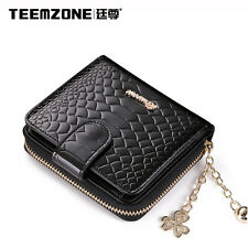 Women Lady Leather Snake Pattern Small Zip Coin Snap Cute Cash Change Wallet