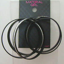 Material Girl Thin Glitter Bangles Bracelets Silver Black Set Of 5 Multi-color