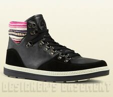 GUCCI Mens 9.5G* black leather Knit ankle GREENFIELD BOOTS sneakers NIB Authentc