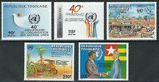 Togo - 40 Jahre Vereinte Nationen Satz postfrisch 1985 Mi. 1904-1908