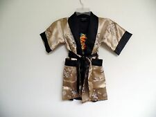 Thai Silk-Blend Child's Robe Kimono Gold Reversible Dragon/Unisex - S (New)