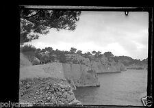 Portrait famille paysage mer falaise Toulon - Ancien négatif photo verre plaque