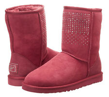 NEW UGG Australia Classic Short Bling Sangria Suede Boot shearling Lined US 9/40