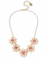 NWT $75 BETSEY JOHNSON MARIE ANTOINETTE PAVE PINK-PLATED ROSE FRONTAL NECKLACE
