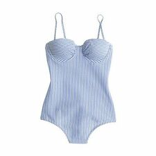 J.Crew Underwire One-Piece Swimsuit Seersucker Blue Size 4 Current $112 E7398