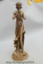 """20"""" Chinese Western Copper Art Stand Sexy Nude Woman Lady Belle fluting Statue"""