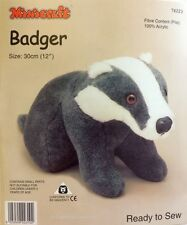 Badger Soft Toy Kit - Make Your Own - Cuddly Fur Fabric - Gift Children Sew
