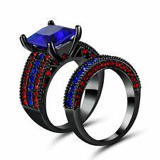 Blue Sapphire Wedding Ring Set Pave Set CZ Band Womens Black Gold Filled Size 8