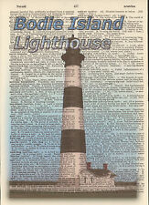 Bodie Island Lighthouse NC Altered Art Print Upcycled Vintage Dictionary Page