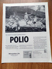 1960 Metropolitan Life Insurance Ad Urgent Message to parents about Polio