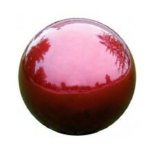 "Red Gazing Globe Stainless Steel 12"" Mirror Ball Lawn Ornament Yard Patio Decor"