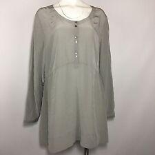 J Jill Silk Blouse XL Gray Top Shirt Sheer 1/4 Button Down Scoop Neck