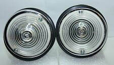 2 x CLASSIC FIAT 500 D FIAT 600 FRONT INDICATORS CLEAR KIT ALUMINIUM CHROMED