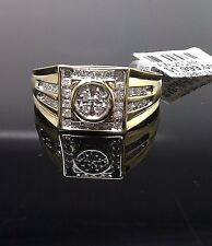 Men's Genuine 10K Yellow Gold With 0.29 CT Diamond Engagement, Wedding Band