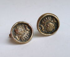 Vintage Pair Coat of Arms Cufflinks Brass Gold Tone Crown Shield