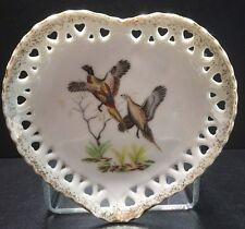 Vintage Heart shape Porcelain Dish Plate with pair of Pheasant birds