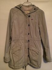 Hollister Woman's Long Winter Parka With Sherpa Lining  Beige Size Medium