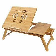 Bamboo Laptop Notebool Desk Foldable Breakfast Serving Bed Sofa Tray Stand