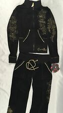 Crystal Rock Christian Audigier Jacket Sweat Pants Velour Black CRW127 Size M