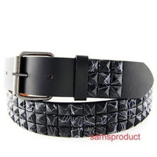 Pyramid Studded Snap On leather belt S 30-32 Black Line