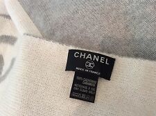 """Chanel France New 100% Cashmere Blanket Throw 70""""x 65"""" White/Grey Large"""