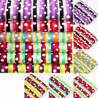 WHITE Retro POLKA DOT SPOT on MULTICOLOURED STRIPE 100% Cotton Fabric VK56 by FQ