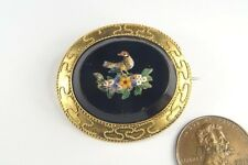 PRETTY ANTIQUE 15K GOLD MICROMOSAIC BIRD BROOCH c1880