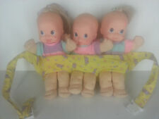 Vintage Magic Nursery Fuss n' Giggle Triplets Dolls & Yellow Carrier Untested