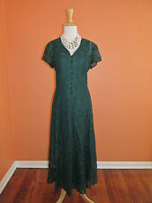 Vintage Womens Emerald Green Size S 7/8 Lace Corset Back Gothic Grunge Dress