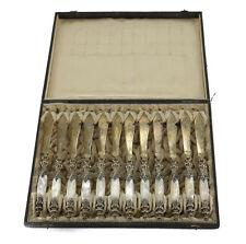 Qty 12 Bruckmann & Sohne German 800 Silver & Mother of Pearl Fish Knives, c1900