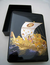 7 Seven GODS bento box letter tray jewelry gold sea junk ship JAPAN gift lid top