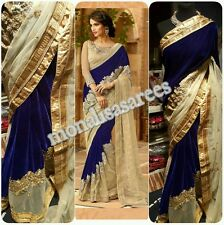BOLLYWOOD DESIGNER VELVET AND NET SAREE INDIAN TRADITIONAL SAREE ACTUAL PIC LIST