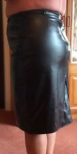 "Real Leather Quality Black Skirt Size 18 Waist 36"" Hip 44"" length 25""Narrow Belt"