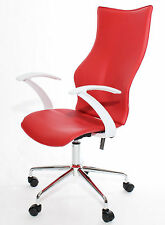 Adjustable Office Computer Desk CHAIR Chrome Faux Leather Lift & Tilt in Red